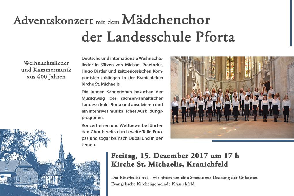 Mädchenchor der Landesschule Pforta – Konzert in Kranichfeld 2017